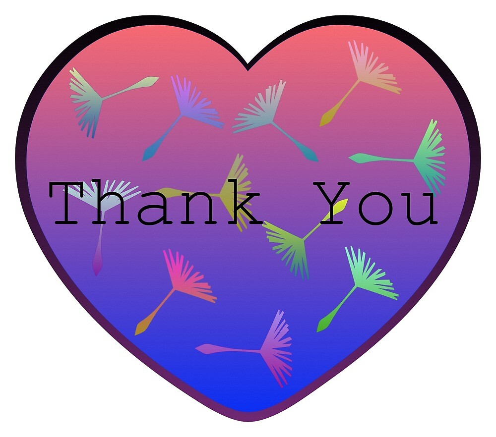 Thank You Ombre Heart With Colorful Dandelion Feathers by Oirabot