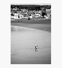 Empty Beach at weston -Lone Girl  Photographic Print