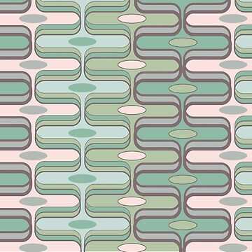 Retro Mod Ogee Pastel Pink & Moss Green Abstract Pod Pattern by fatfatin