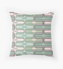 Retro Mod Ogee Pastel Pink & Moss Green Abstract Pod Pattern Throw Pillow