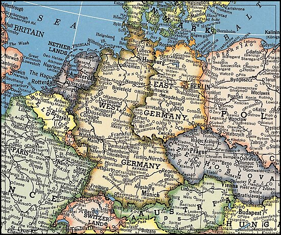 1951 Old Germany Map Special Gift Ideas Photographic Prints By