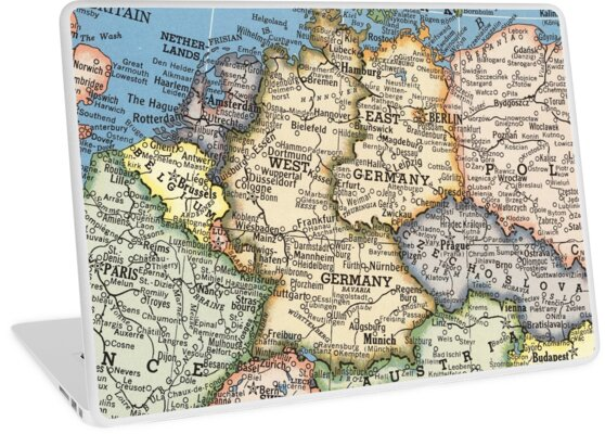 Map Of Old Germany.1951 Old Germany Map Special Gift Ideas Laptop Skins By