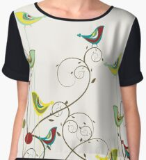 Colorful Whimsical Summer Red, Teal and Yellow Birds with Swirls Women's Chiffon Top