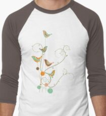 Colorful Whimsical Summer Orange Chocolate and Mint Birds with Swirls T-Shirt