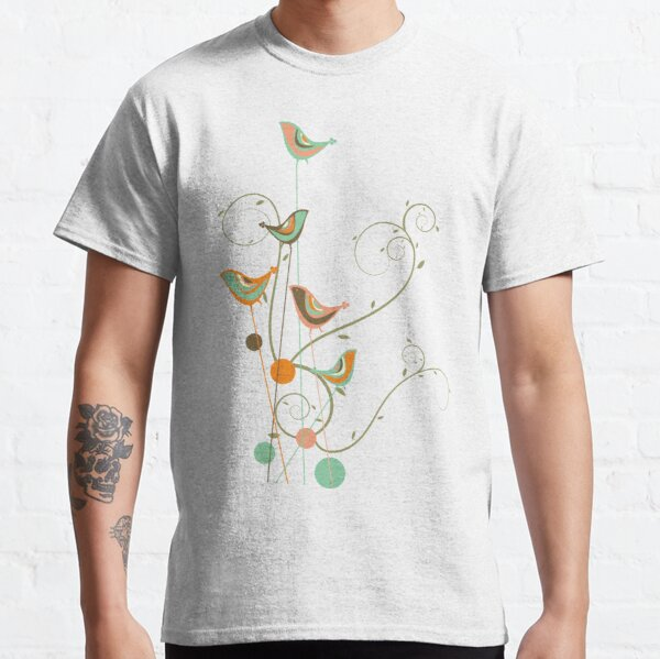 Colorful Whimsical Summer Orange Chocolate and Mint Birds with Swirls Classic T-Shirt