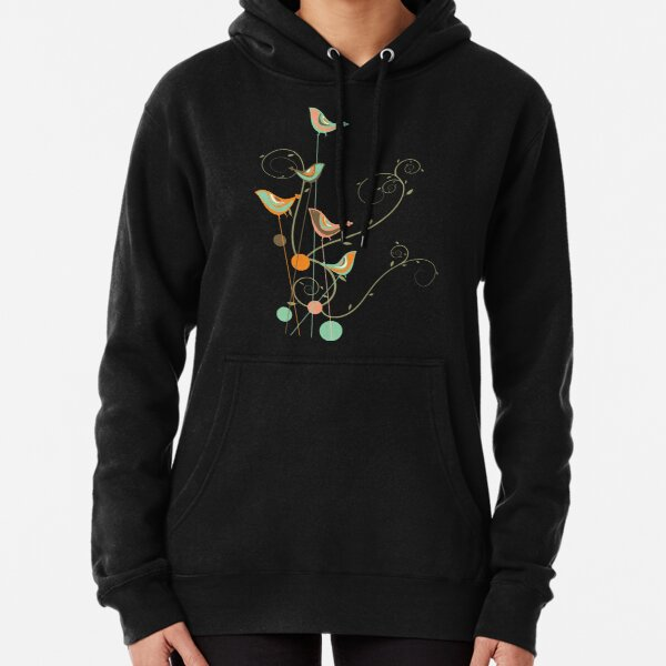 Colorful Whimsical Summer Orange Chocolate and Mint Birds with Swirls Pullover Hoodie