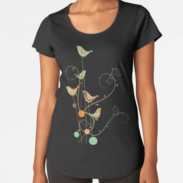 Colorful Whimsical Summer Orange Chocolate and Mint Birds with Swirls Premium Scoop T-Shirt