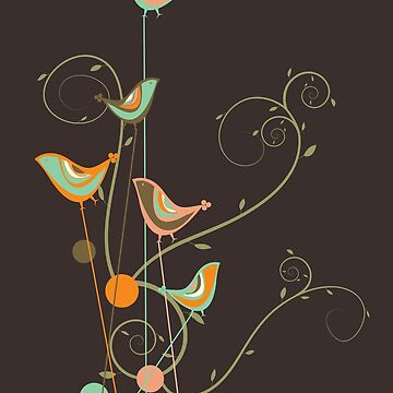 Colorful Whimsical Summer Orange Chocolate and Mint Birds with Swirls by fatfatin