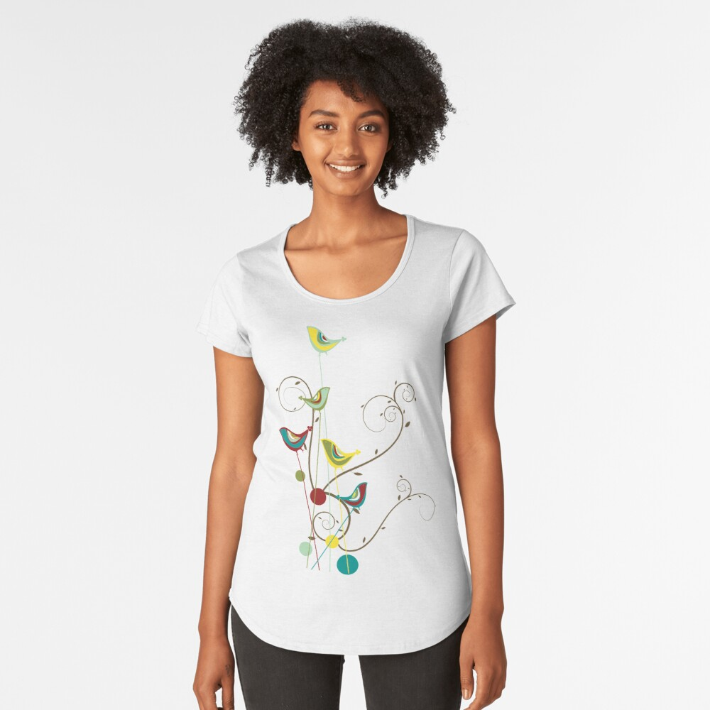 Colorful Whimsical Red Teal and Yellow Summer Birds with Swirls Women's Premium T-Shirt Front