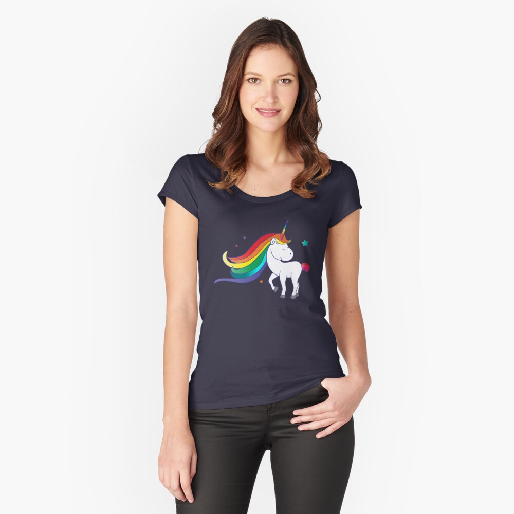 Girls Cute Adorable Unicorn Rainbow Graphic Tee Shirt Gifts Women's Fitted Scoop T-Shirt Front