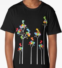 Colorful Whimsical Tweet Birds On White Branches Long T-Shirt