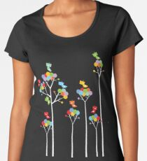 Colorful Whimsical Tweet Birds On White Branches Women's Premium T-Shirt