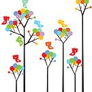 Colorful Tweet Birds On Dotted Trees With Dark Branches by fatfatin