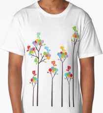 Colorful Tweet Birds On Dotted Trees With Dark Branches Long T-Shirt