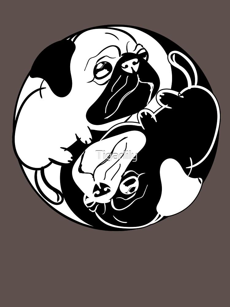 Yin Yang Pug Dog Animal Lover T-Shirt Funny Graphic Tee Gift by Tigarlily