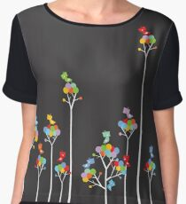 Colorful Whimsical Tweet Birds On White Branches Chiffon Top