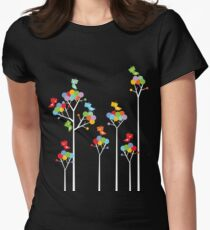 Colorful Whimsical Tweet Birds On White Branches Women's Fitted T-Shirt