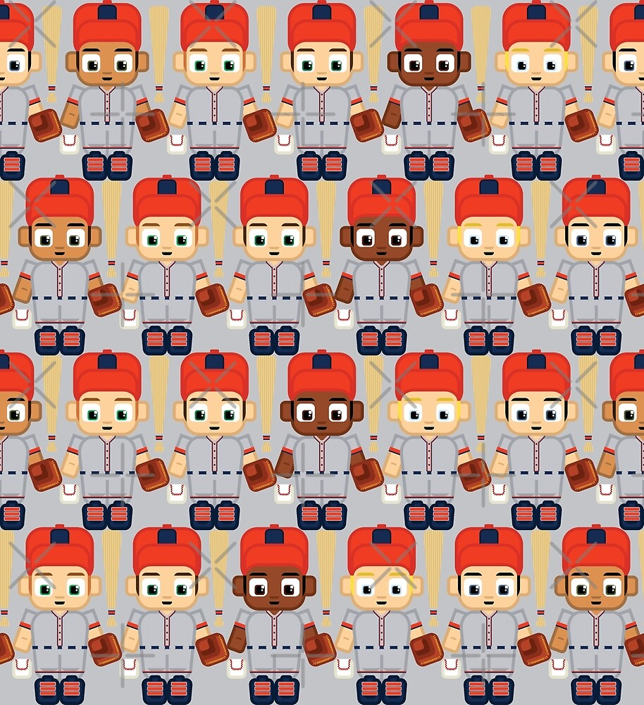 Baseball Orange and Grey - Super cute sports stars by boxedspaper