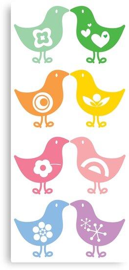 Retro Rainbow Kissing Chicks by fatfatin