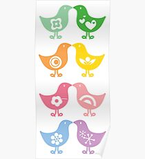 Retro Rainbow Kissing Chicks Poster