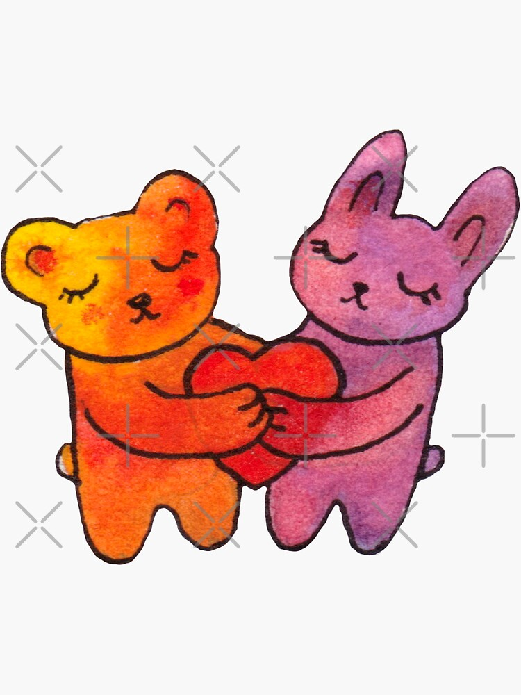Bear and Bunny Hugs Heart by whya