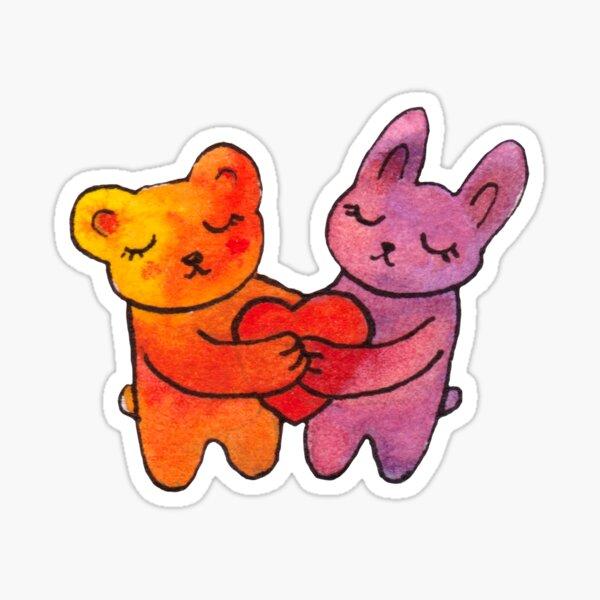 Bear and Bunny Hugs Heart Sticker