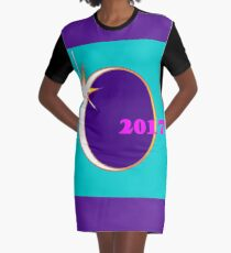 An Eclipse Memento with Teal Background Graphic T-Shirt Dress