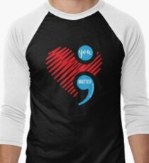Suicide Prevention Depression Awareness Heart and Semi Colon T-Shirt