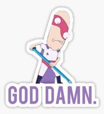 "Rick and Morty - Noob Noob ""God Damn"" Sticker"