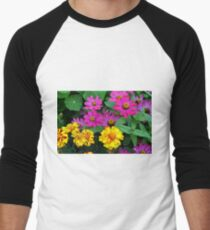 Pink and yellow flowers background T-Shirt
