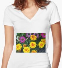 Pink and yellow flowers background Women's Fitted V-Neck T-Shirt