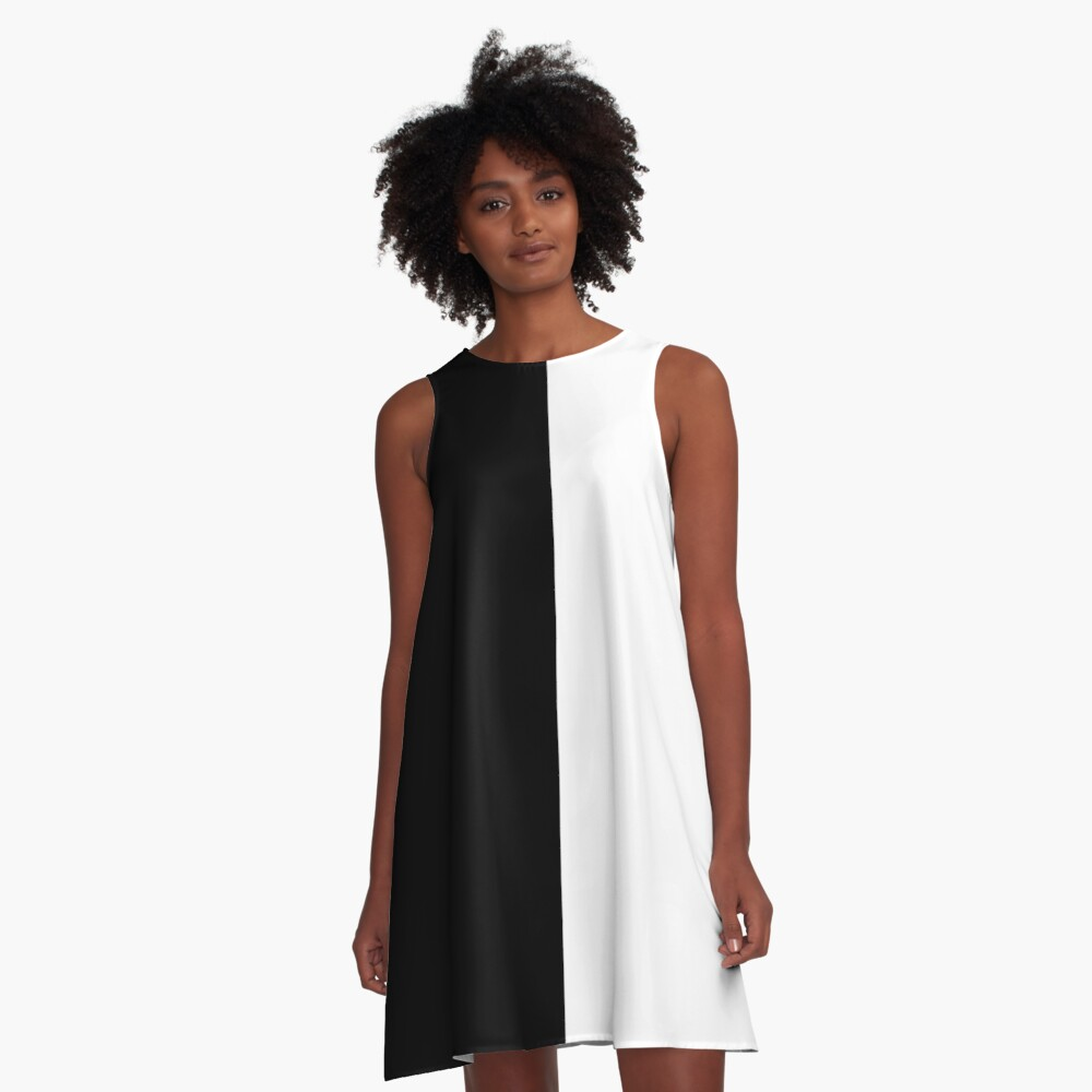 Black and White A-Line Dress Front