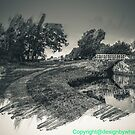 Canal and bridge in black and white  by bywhacky