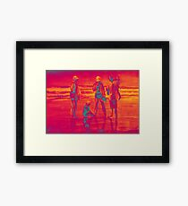 Group of people at the beach, painting in red orange colors  Framed Print