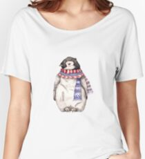 Baby Penguin in a Festive Scarf Women's Relaxed Fit T-Shirt