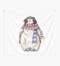 Baby Penguin in a Festive Scarf Wall Tapestry