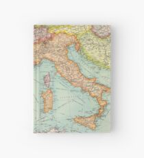 Vintage Italy map Hardcover Journal
