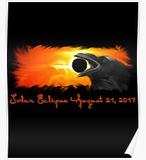 Solar Eclipse, Total Eclipse, 2017 Raven Graphic Art Poster