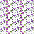 Pink flowers on white pattern  by bywhacky