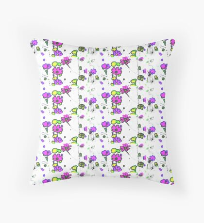 Pink flowers on white pattern  Throw Pillow
