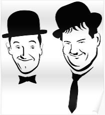 Laurel and Hardy Ink in Black and White  Poster