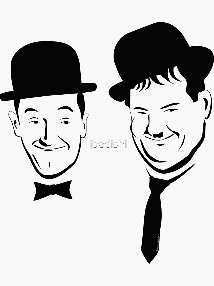 Laurel and Hardy Ink in Black and White  by ibadishi