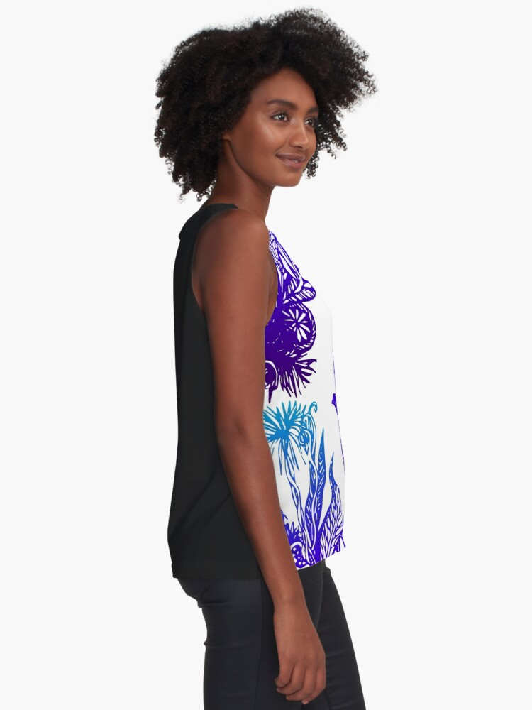 Alternate view of Exotic Flowers Line Drawing Pattern - Blue and Green Sleeveless Top