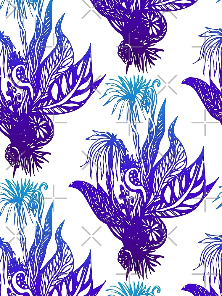 Exotic Flowers Line Drawing Pattern - Blue and Green by whya