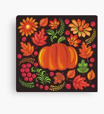 Pumpkin with flowers in Ukrainian style Canvas Print