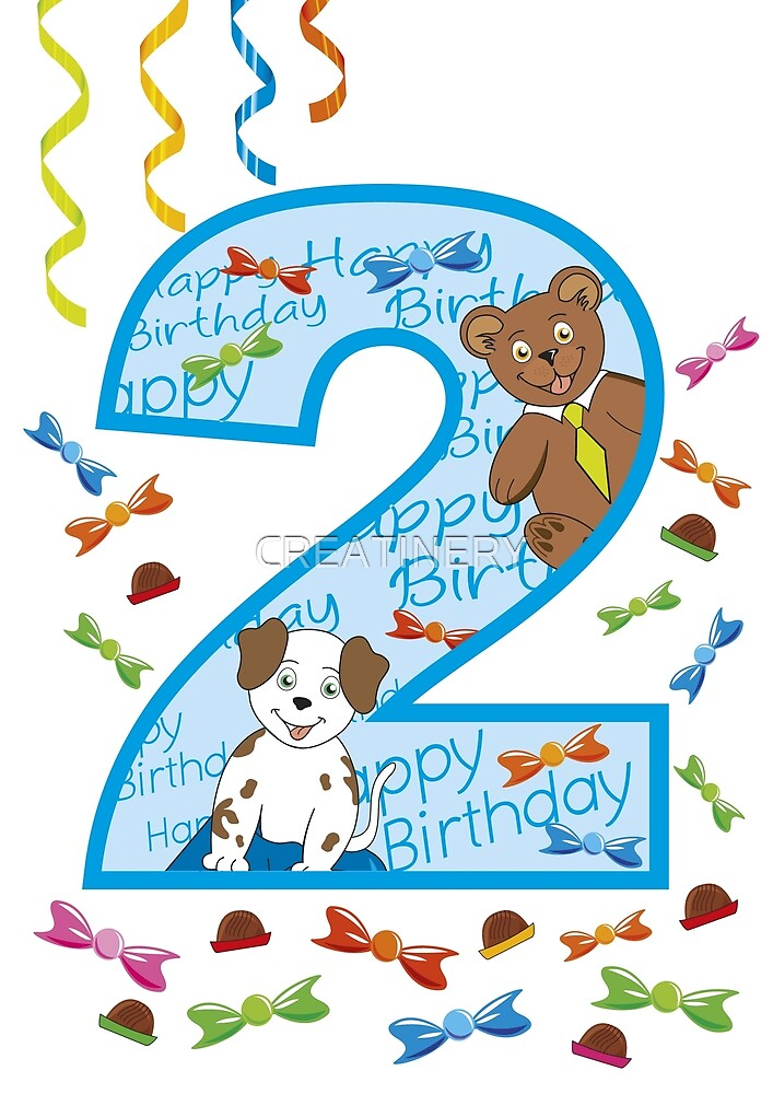 two years , second birthday with bear and dog by CREATINERY