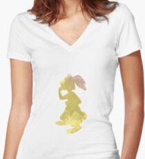 Rabbit Inspired Silhouette Women's Fitted V-Neck T-Shirt