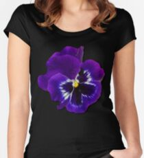 Pansy Purple Flower Beautiful Meditation Yoga Peace Garden Women's Fitted Scoop T-Shirt