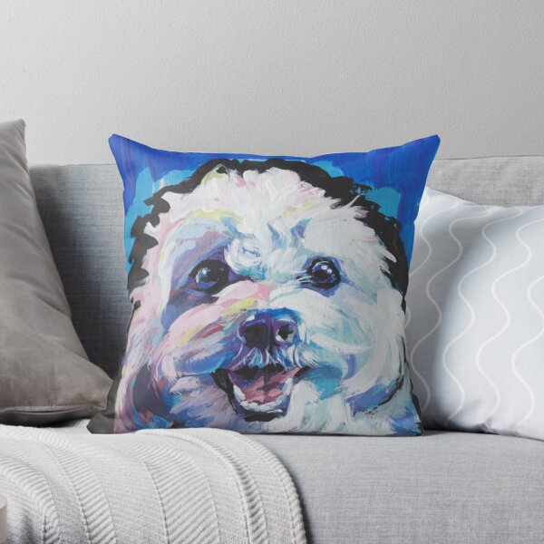 Fun Cavachon Dog bright colorful Pop Art Throw Pillow