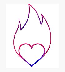 Heart on Fire Happy Follow Joy Passion Fun Bliss Happiness Photographic Print